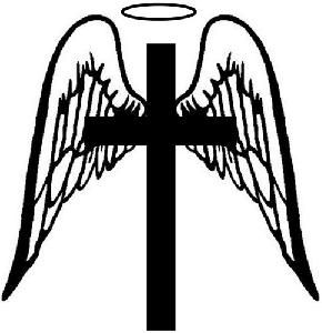 290x300 Angel Wings With Cross Clip Art