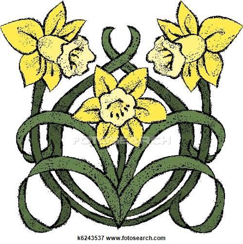 500x502 Clip Art Of Nouveau Daffodils K6243537