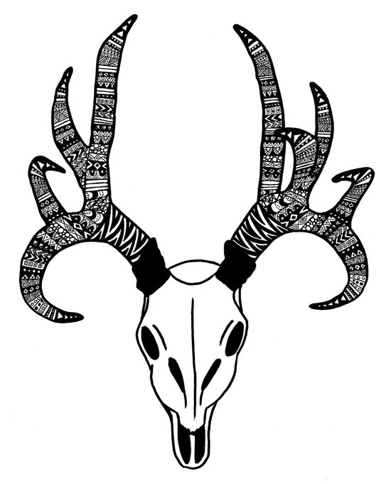 550x681 Black And White Tribal Inspired Deer Skull Design Julie Erin Designs