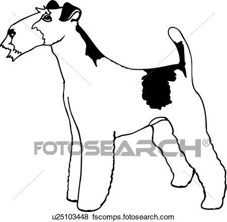 450x439 Clip Art Of , Animal, Breeds, Canine, Dog, Fox Terrier, Show Dog