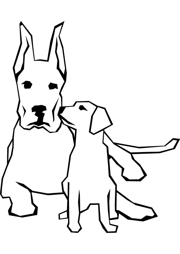 595x842 Dog And Puppy Free Coloring Page