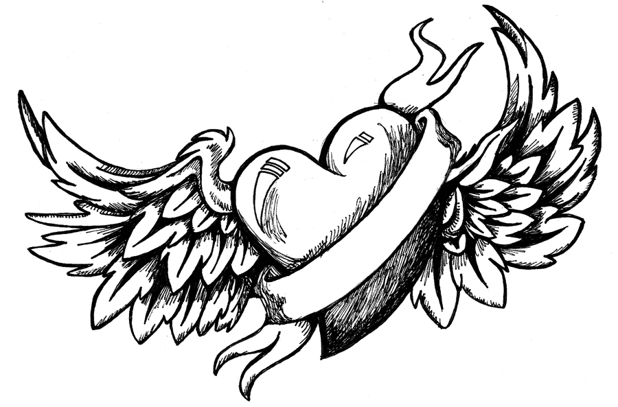 free heart with wing coloring pages | Drawings Of Hearts With Banners | Free download best ...