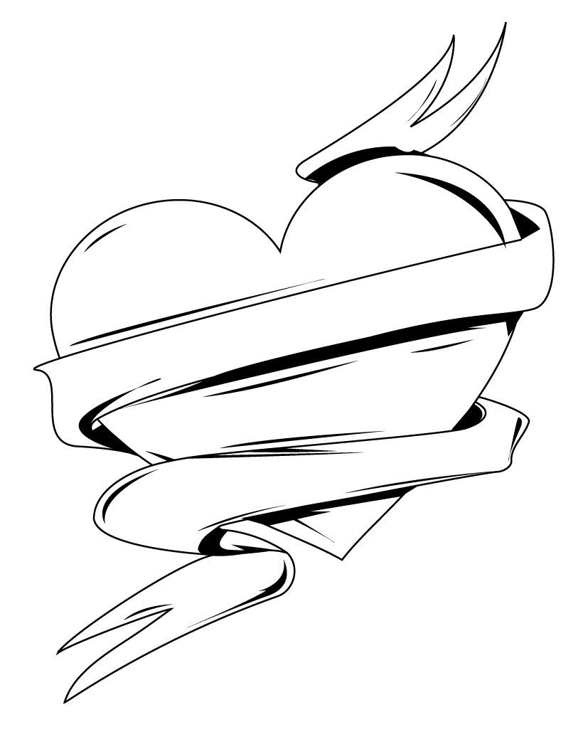 820x1060 Drawings Of Hearts With Ribbons
