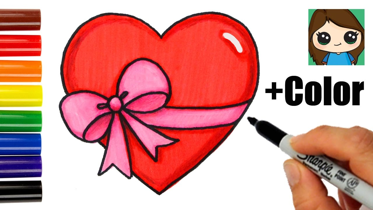 1280x720 How To Draw A Heart With A Bow Ribbon Emoji Easy