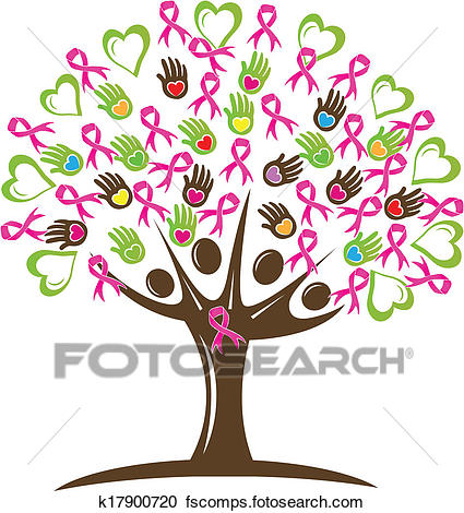 425x470 Clipart Of Tree With Hearts Hands And Ribbon K17900720