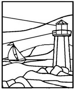 236x288 Vinyl Window Decals Etched Glass Stained Glass Lighthouse