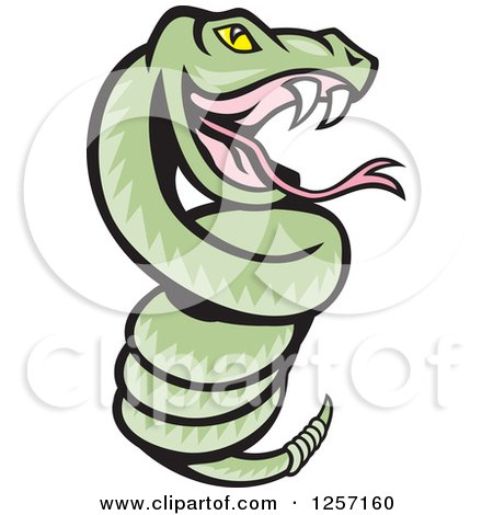 450x470 Clipart Of A Cartoon Green Rattle Snake Coiled