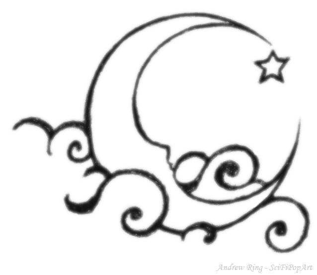 638x554 Drawn Falling Stars Star Moon