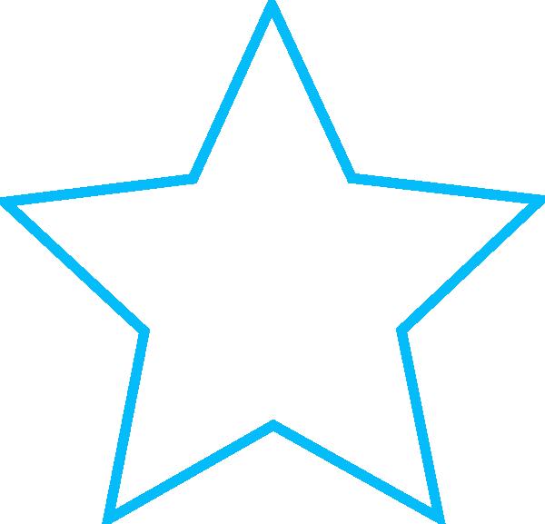 600x577 Blue Star Outline Small Clip Art