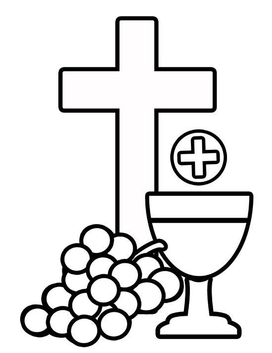 550x712 Body Of Christ Amp Blood Of Christ Grapes And Cross Coloring Page