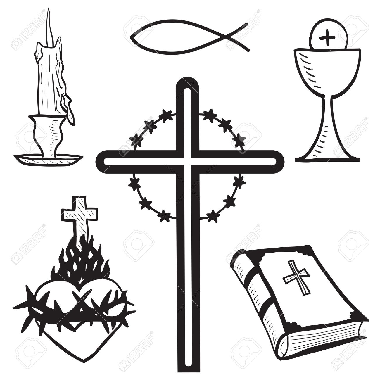1300x1300 Christian Hand Drawn Symbols Illustration