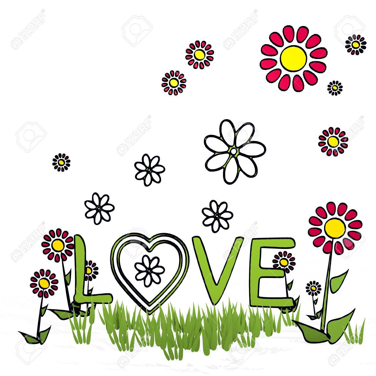1300x1300 Spring Flower Hand Drawn Sketch Of Love With Hand Drawn Flowers