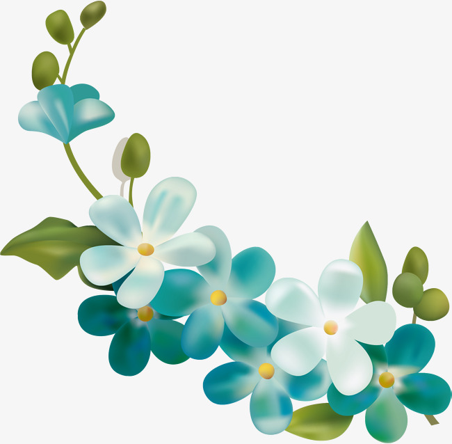 650x638 Hand Painted Blue Flower Petals, Hand Drawn Flowers, Leaf