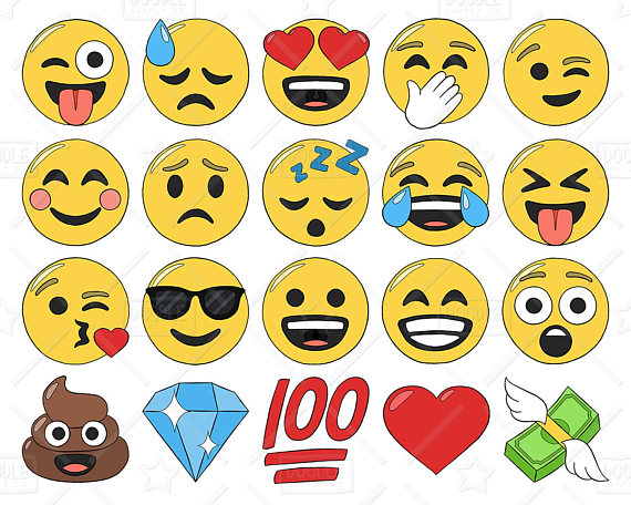 570x456 Emoji Clipart Vector Pack, Smiley Faces Clipart, Hand Drawn Emoji