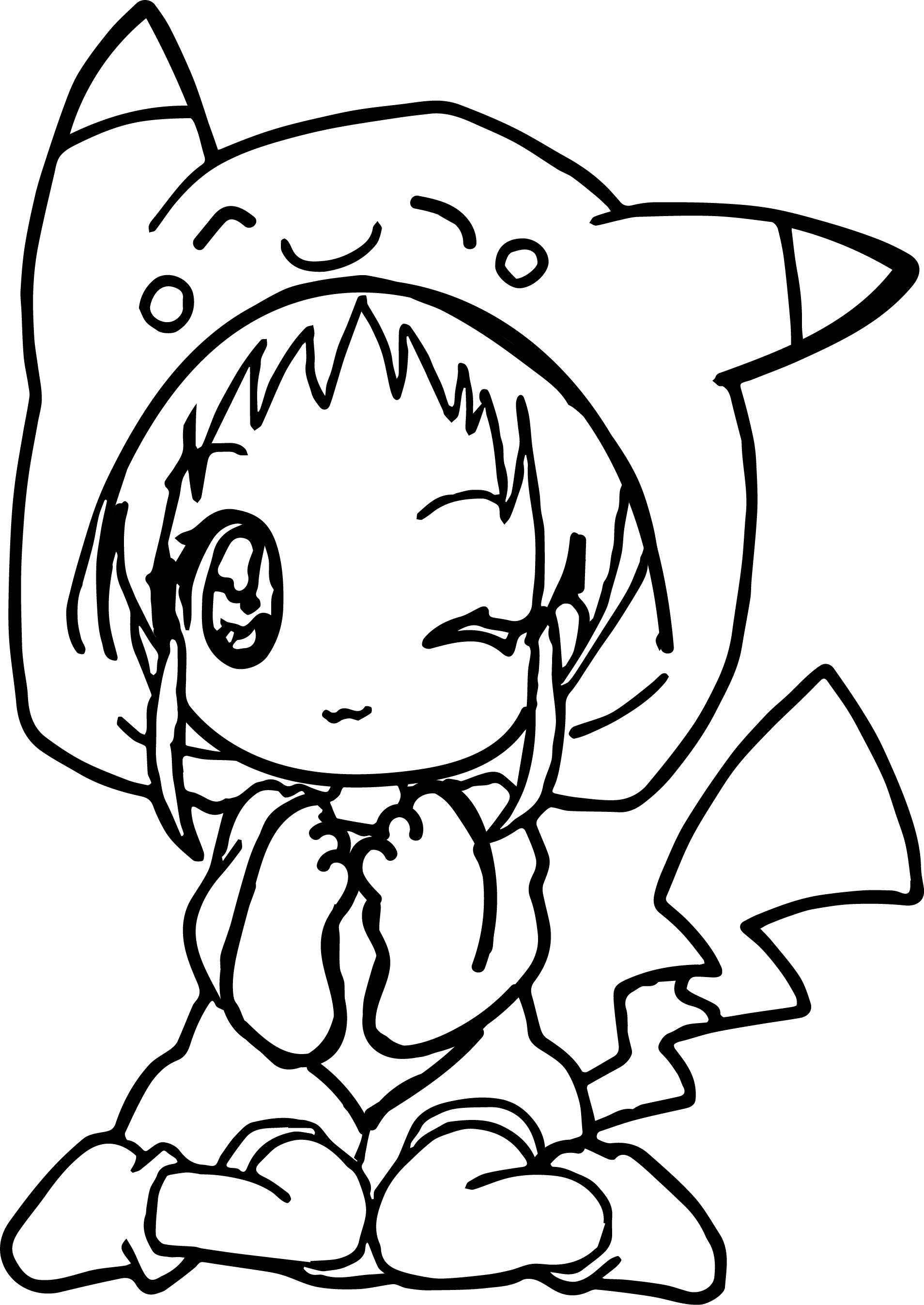 1908x2694 Anime Girl Pikachu Dress Coloring Page Wecoloringpage