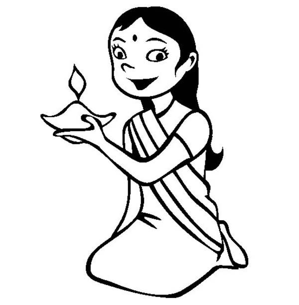 600x612 Dress Up For Diwali Celebration Coloring Page