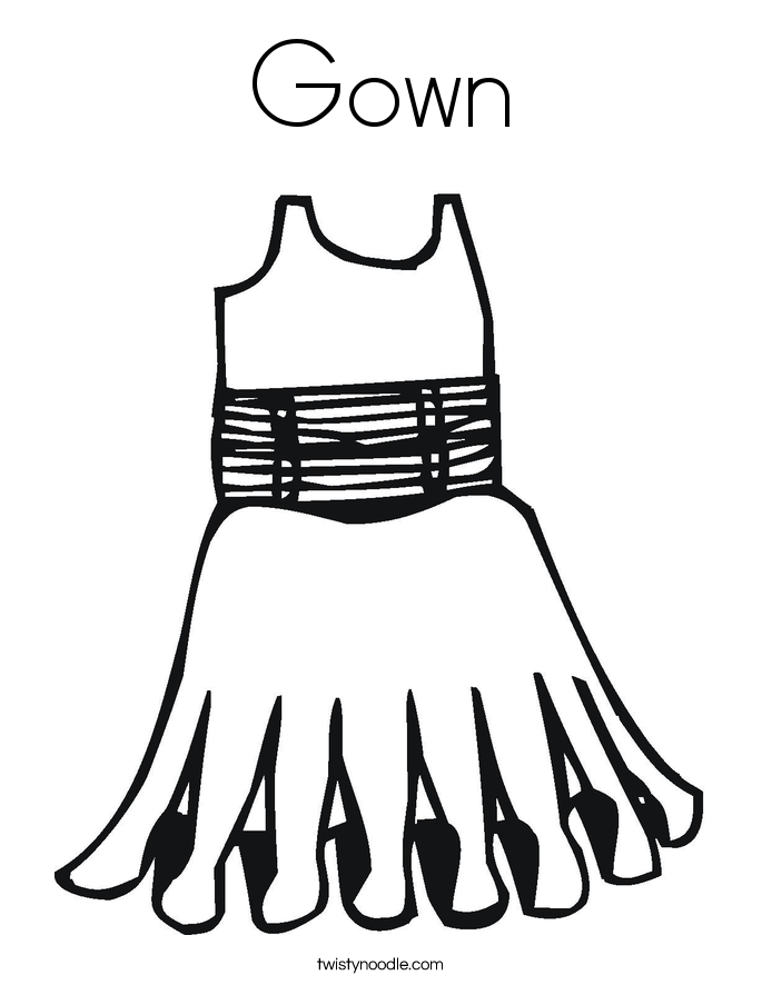 685x886 Gown Coloring Page
