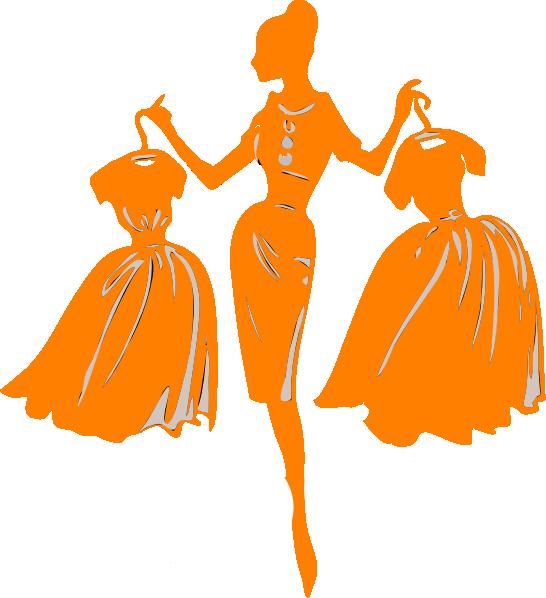 Strapless Orange Dress Clip Art
