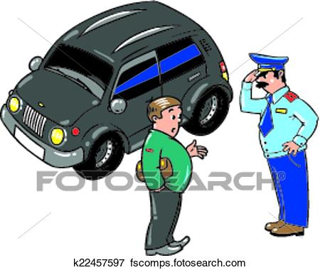 450x380 Clip Art Of Policeman Stopped The Car, Talking With The Driver
