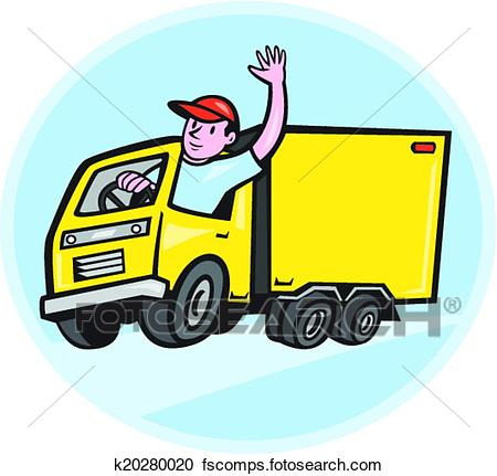 450x431 Clipart Of Delivery Truck Driver Waving Cartoon K20280020
