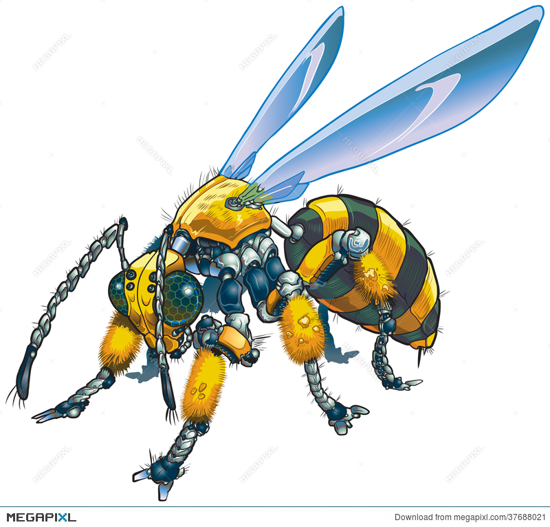 800x766 Robot Wasp Vector Clip Art Illustration Illustration 37688021
