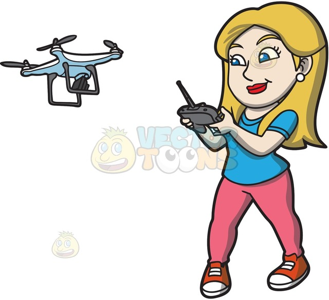 640x584 A Female Hobbyist Flying A Drone With A Remote Cartoon Clipart