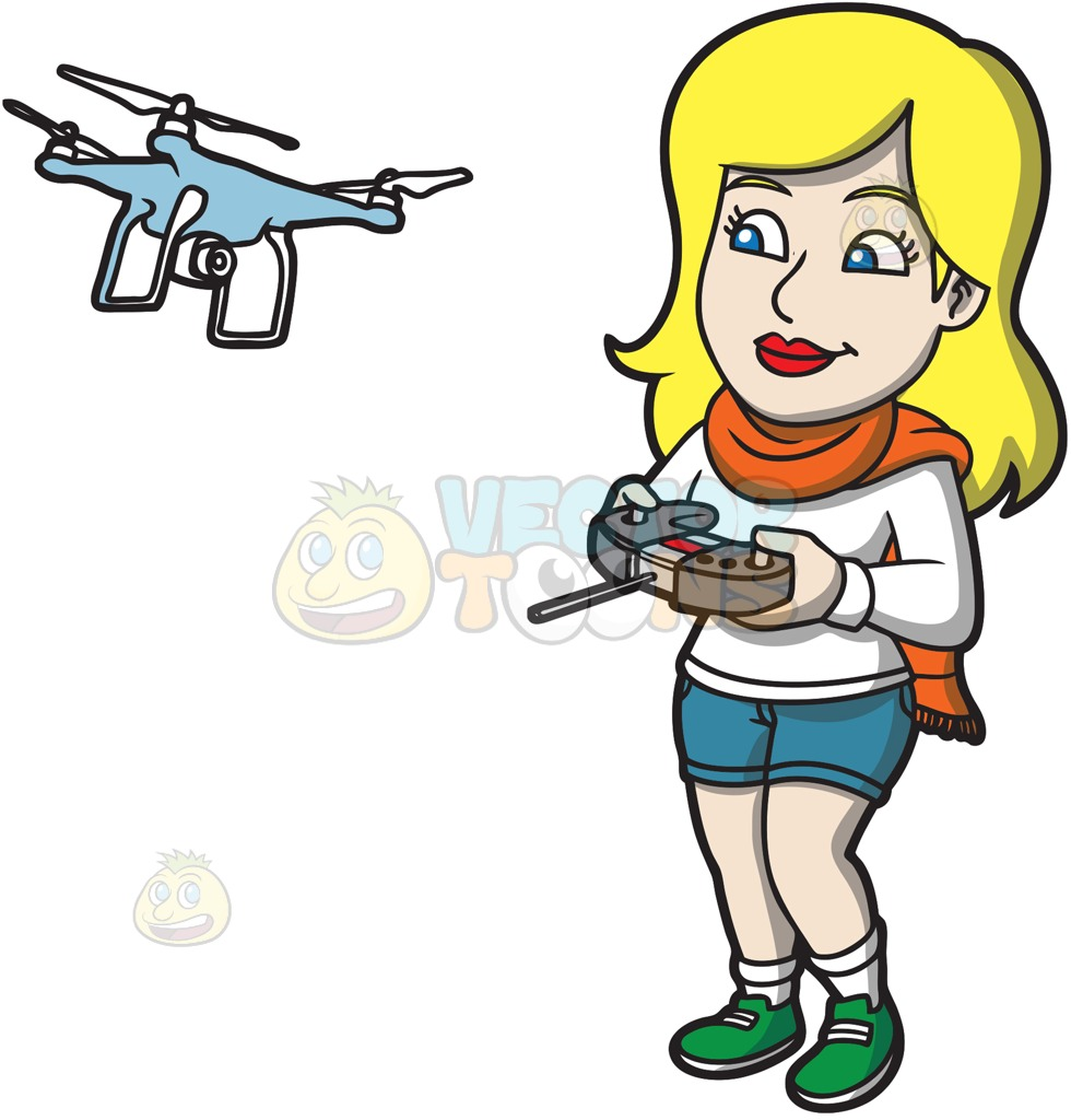 980x1024 A Woman Using A Remote To Fly A Drone Cartoon Clipart