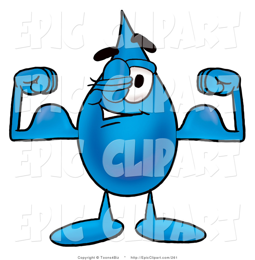1024x1044 Clip Art Of A Strong Water Drop Mascot Cartoon Character Flexing