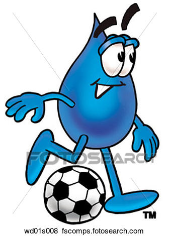 336x470 Clip Art Of Water Drop Playing Soccer Wd01s008