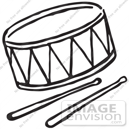 450x450 Clipart Of A Drum And Sticks In Black And White