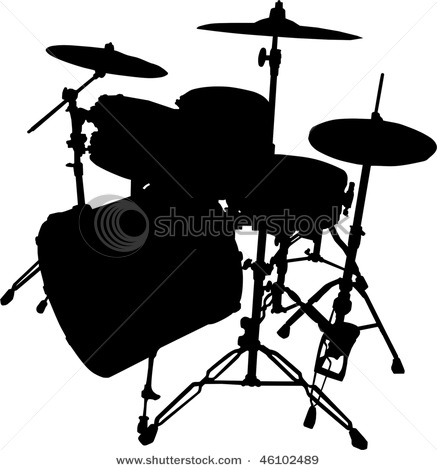 437x470 Of A Drum Set In A Vector Clip Art Illustration