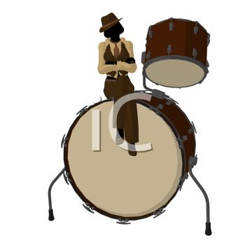 350x350 Silhouette Of A Jazz Woman Sitting On A Drum Set