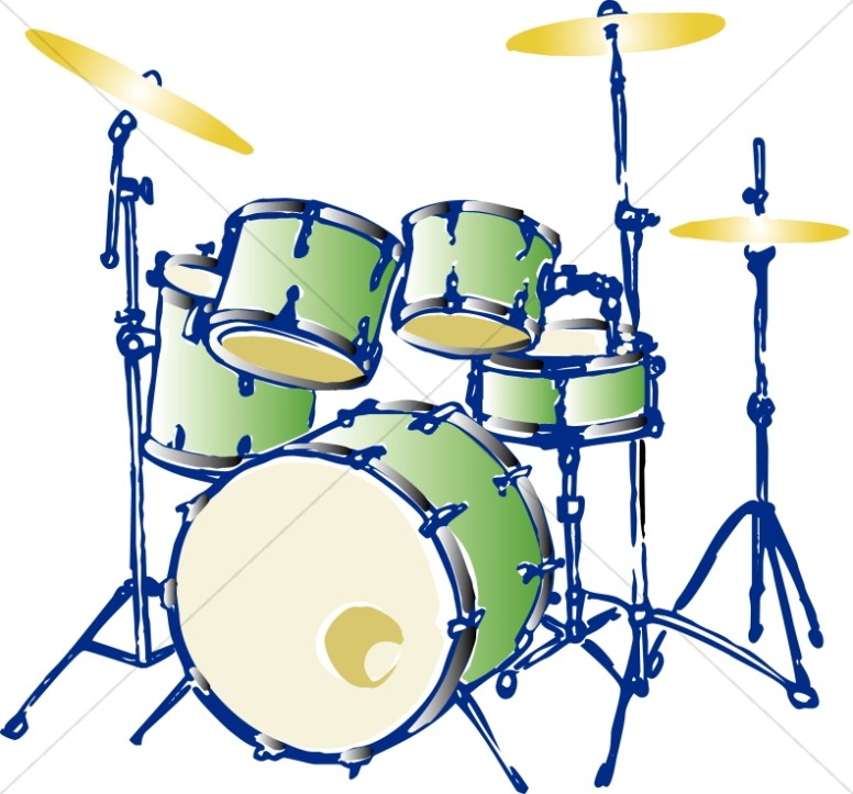 776x723 Green Complete Drum Set Church Music Clipart