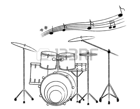 450x351 The Drum Set Drawing On The White Background And The Music Note