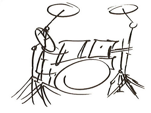 500x375 Drumset Drawing Lil' Drummer Boy