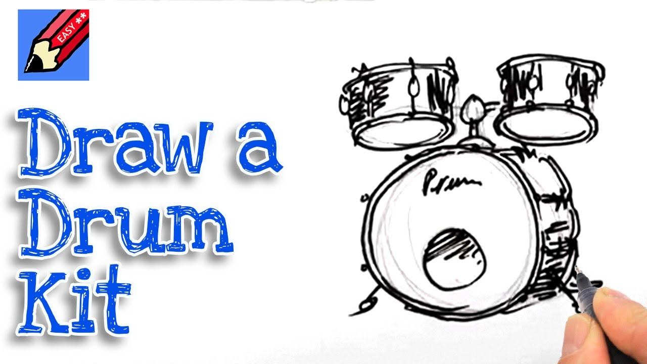 1280x720 Learn How To Draw A Drum Kit Real Easy For Kids And Beginners