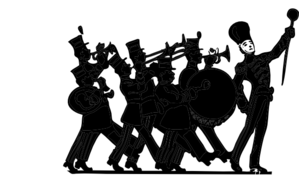 299x180 Marching Band Black On White Clip Art