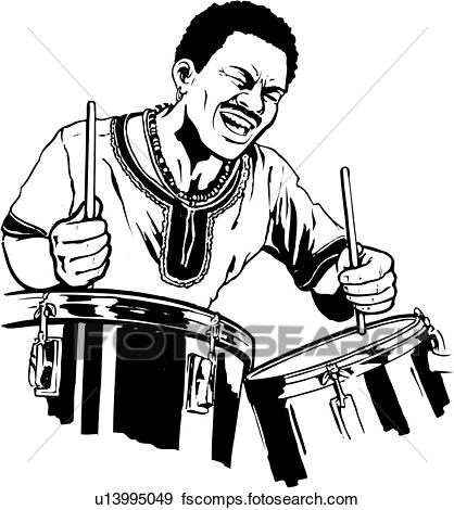 418x470 Clip Art Of Illustration, Lineart, Drummer, Drums, Music, Musical