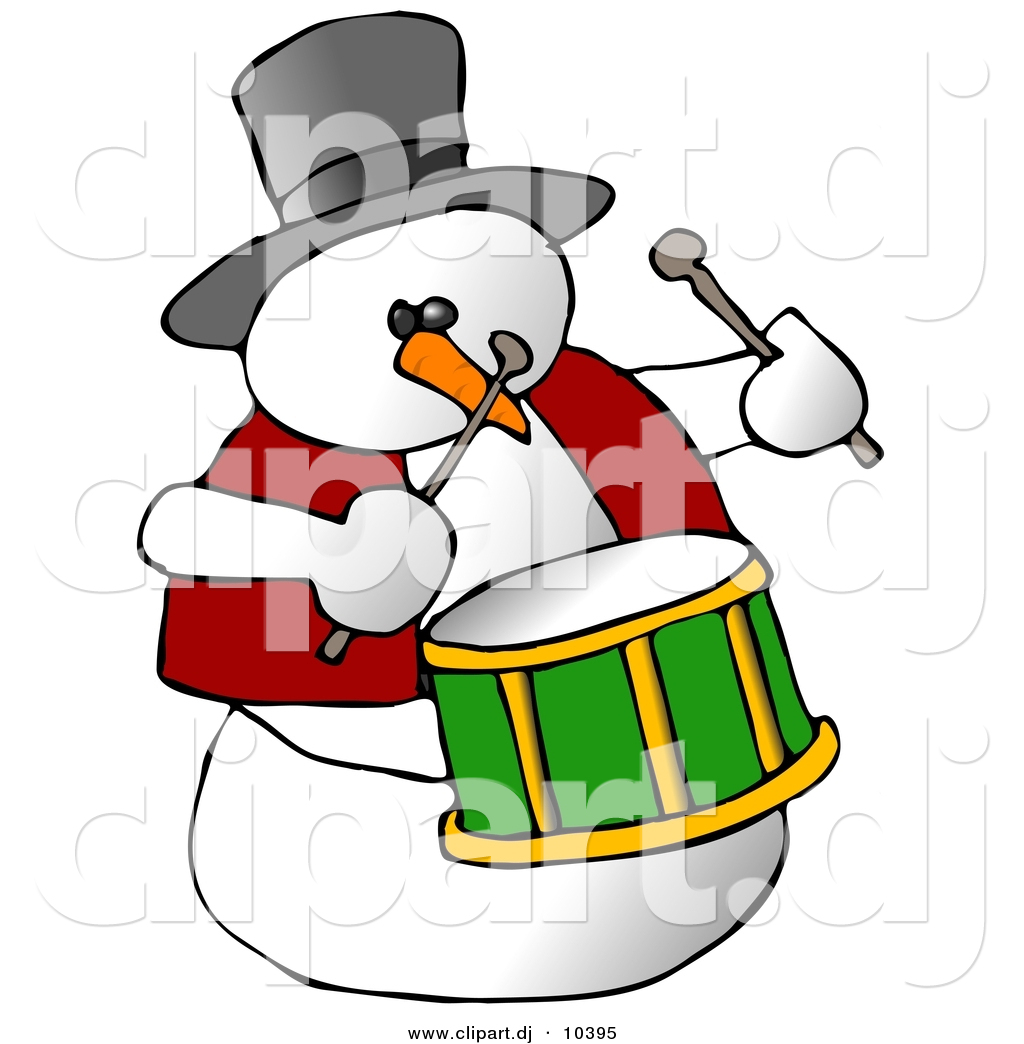1024x1044 Clipart Of A Cartoon Snowman Playing Drums By Djart