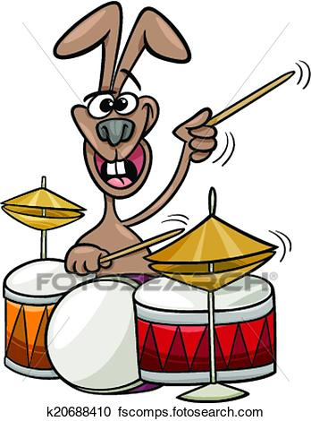 348x470 Clipart Of Bunny Playing Drums Cartoon Illustration K20688410