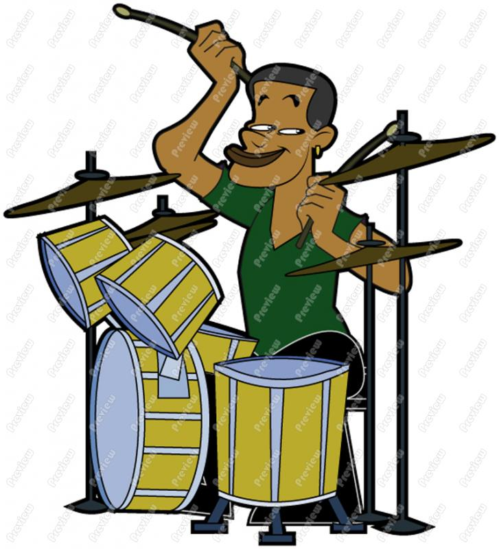 727x800 Man Playing Drums African American Character Clip Art
