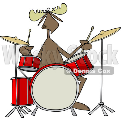 400x400 Of A Cartoon Musician Moose Playing The Drums