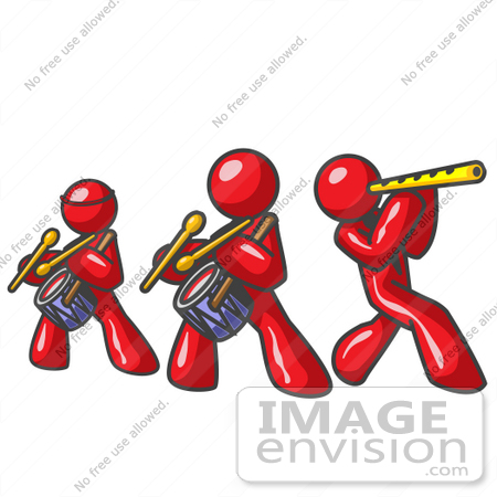 450x450 Clip Art Graphic Of Red Guy Characters Playing Flutes And Drums