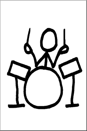304x454 Clip Art Stick Guy Drummer Bampw I Abcteach