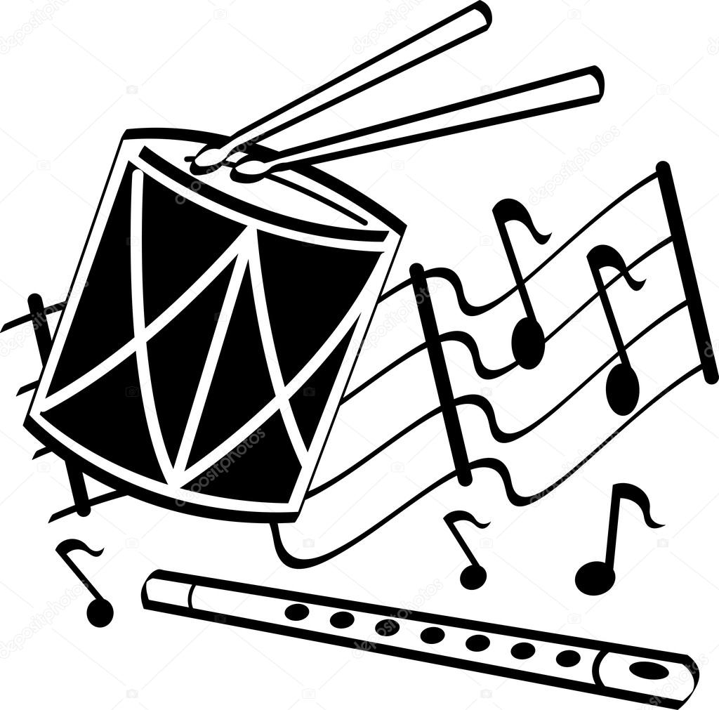 1024x1011 Drumsticks On A Drum And Flute Over Musical Notes Stock Vector