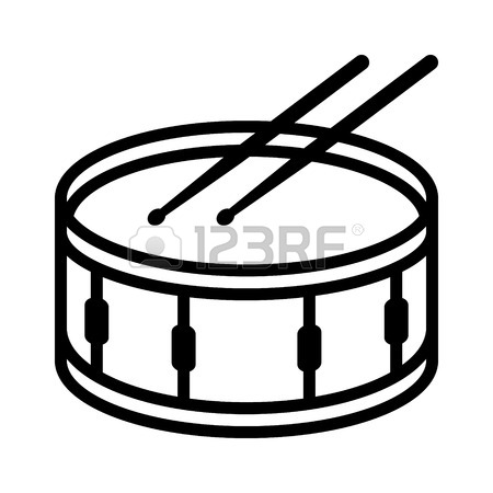 450x450 Snare Drum Or Side Drum With Drumsticks Musical Instrument Line