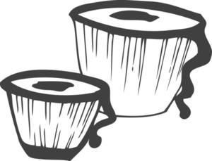 300x229 Vector Bongo Drums Royalty Free Stock Image