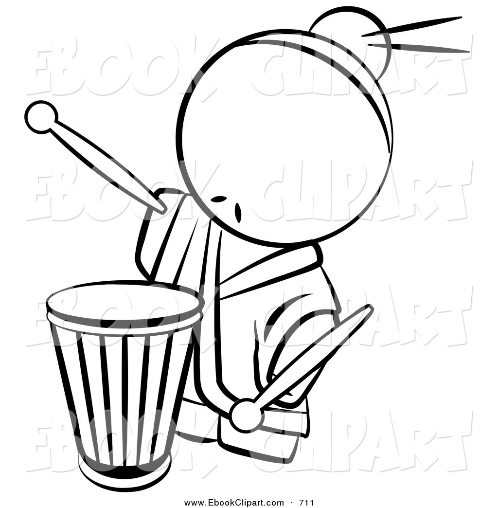 1024x1044 Vector Clip Art Of A Black And White Human Factor Drummer Chinese