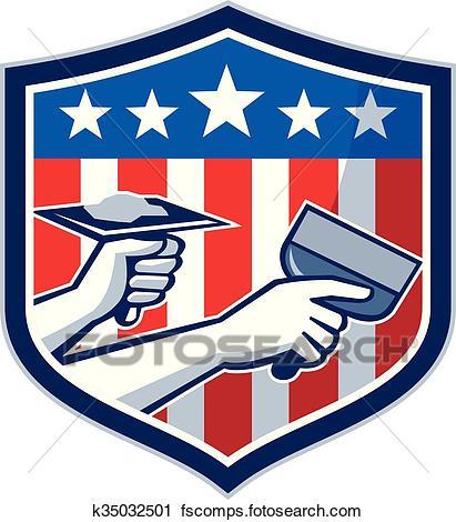 411x470 Clipart Of Drywall Repair Service American Flag Shield Retro