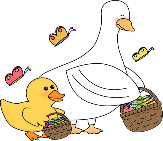 550x476 Easter Ducks With Easter Baskets Clip Art